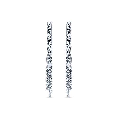 14k White Gold Hoops Intricate Hoop Earrings angle 3