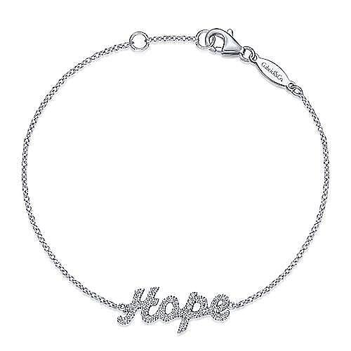 14k White Gold Hope Chain Bracelet