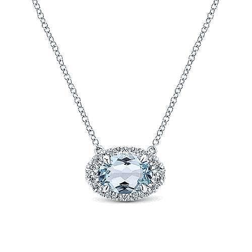 14k White Gold Horizontal Oval Aquamarine Diamond Halo Fashion Necklace