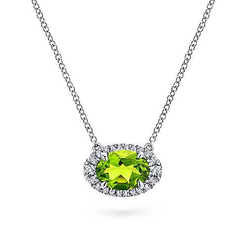 14k White Gold Horizontal Oval Peridot Diamond Halo Fashion Necklace