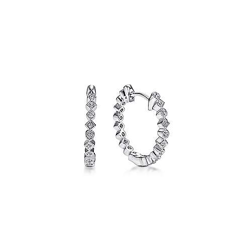 14k White Gold Huggie Alternating Square & Round Diamond Huggie Earrings