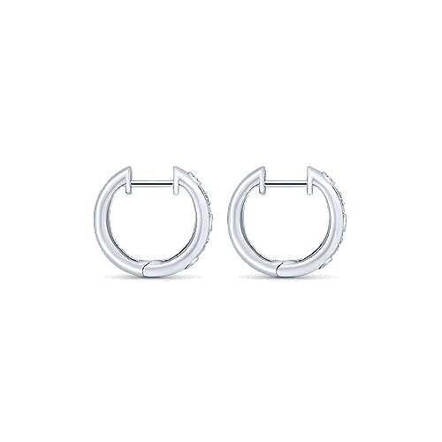 14k White Gold Huggies Drop Earrings angle 2
