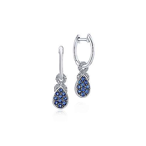 14k White Gold Huggies Drop Earrings angle 1