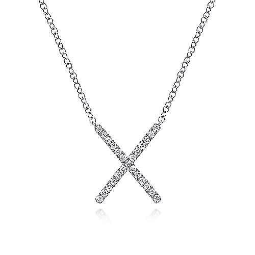 14k White Gold Indulgence Bar Necklace angle 1