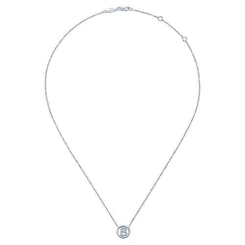 14k White Gold Initial Necklace angle 2