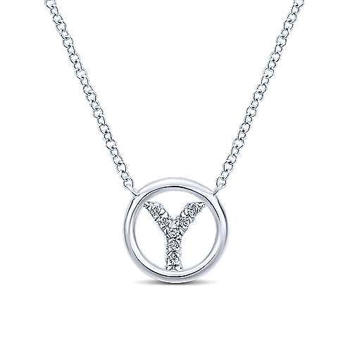 14k White Gold Initial Necklace angle 1