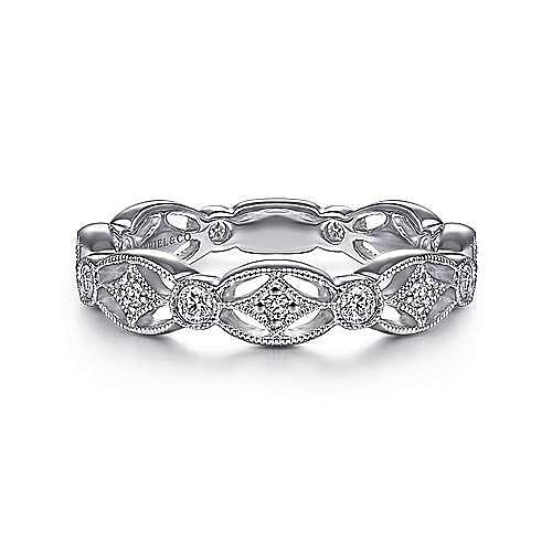 Gabriel - 14k White Gold Intricate Cutout Diamond Stackable Ring