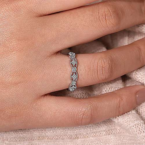 14k White Gold Intricate Cutout Diamond Stackable Ring