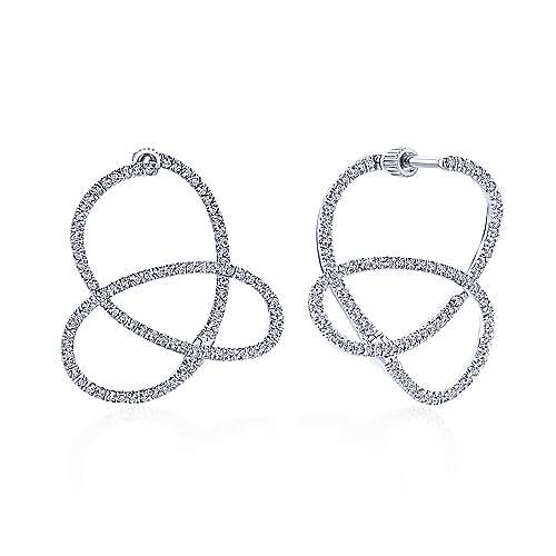 14k White Gold Intricate Twisted Diamond Hoop Earrings