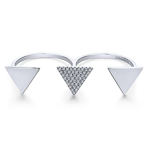 14k White Gold Kaslique Double Ring Ladies' Ring angle 1