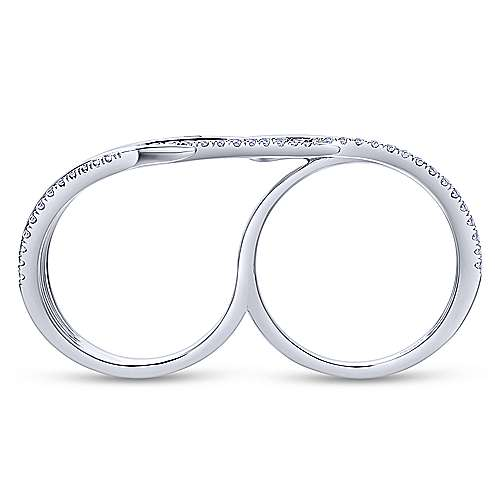 14k White Gold Kaslique Double Ring Ladies' Ring angle 2