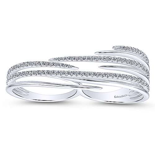 14k White Gold Kaslique Double Ring Ladies' Ring angle 4