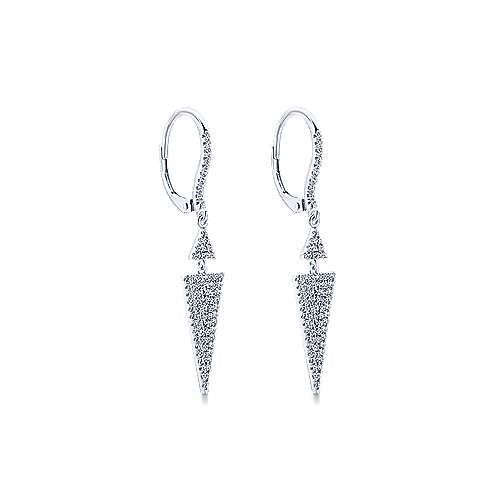 14k White Gold Kaslique Drop Earrings angle 2