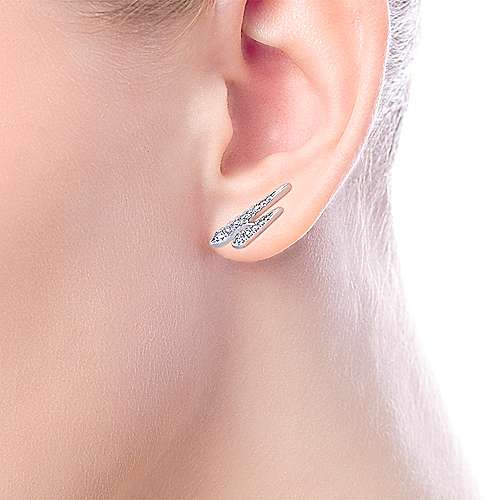 14k White Gold Kaslique Ear Climber Earrings angle 2