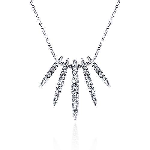 14k White Gold Kaslique Five Stem Fashion Necklace