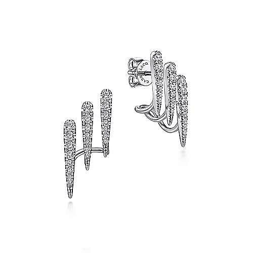 Gabriel - 14k White Gold Kaslique J Curve Earrings