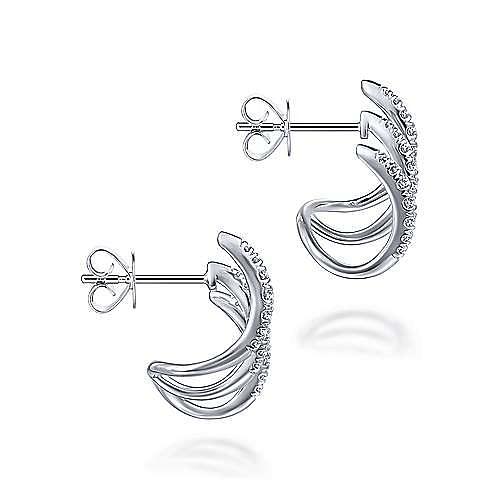 14k White Gold Kaslique J Curve Earrings