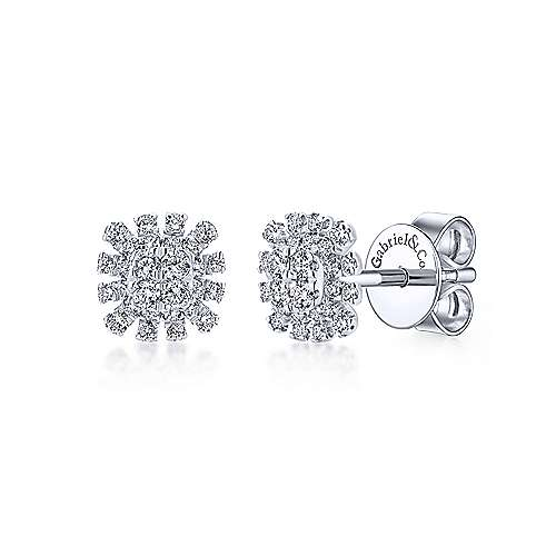 Gabriel - 14k White Gold Kaslique Stud Earrings