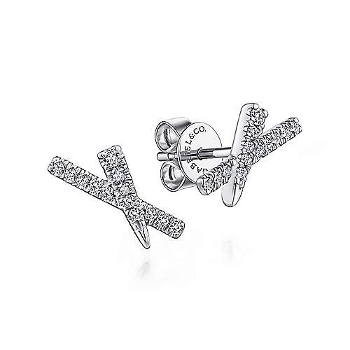 14k White Gold Kaslique Stud Earrings angle 1
