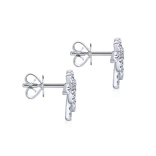 14k White Gold Kaslique Stud Earrings angle 3