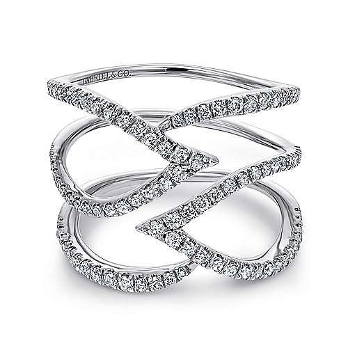 14k White Gold Kaslique Twisted Ladies' Ring angle 1