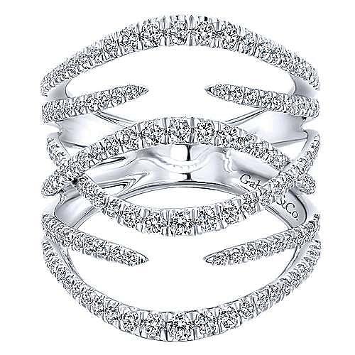 Gabriel - 14k White Gold Kaslique Twisted Ladies' Ring