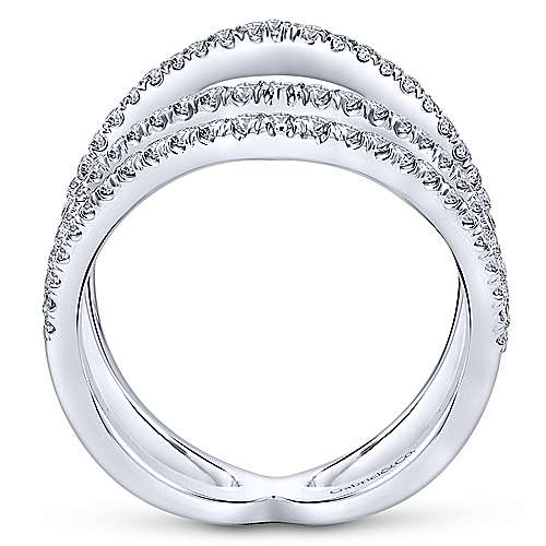 14k White Gold Kaslique Wide Band Ladies' Ring angle 2