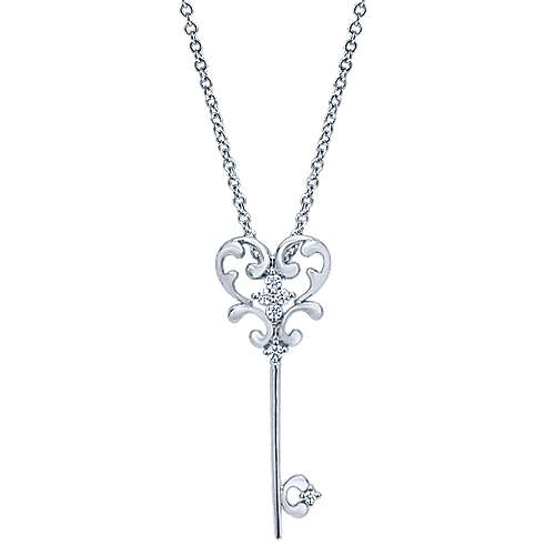 14k White Gold Keys Fashion Necklace angle 1