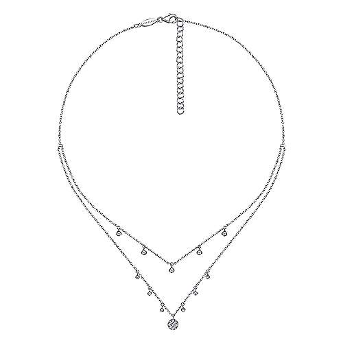 14k White Gold Layered Diamond Charm Drop Necklace