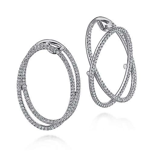 Gabriel - 14k White Gold Layered Double Diamond Intricate Hoop Earrings