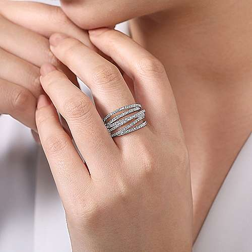 14k White Gold Layered Wide Band Diamond Fashion Ring