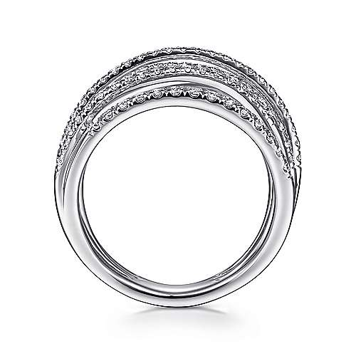 14k White Gold Layered Wide Band Diamond Ring