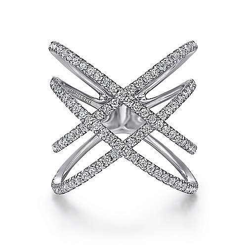 Gabriel - 14k White Gold Layered Woven Diamond Fashion Ring