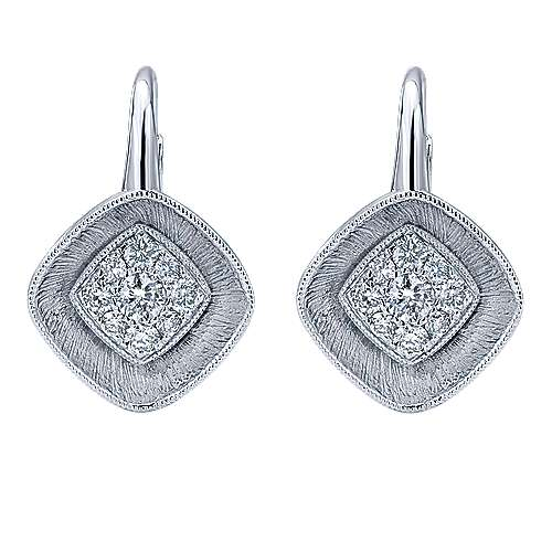 14k White Gold Lotus Drop Earrings angle 1