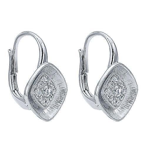 14k White Gold Lotus Drop Earrings angle 2