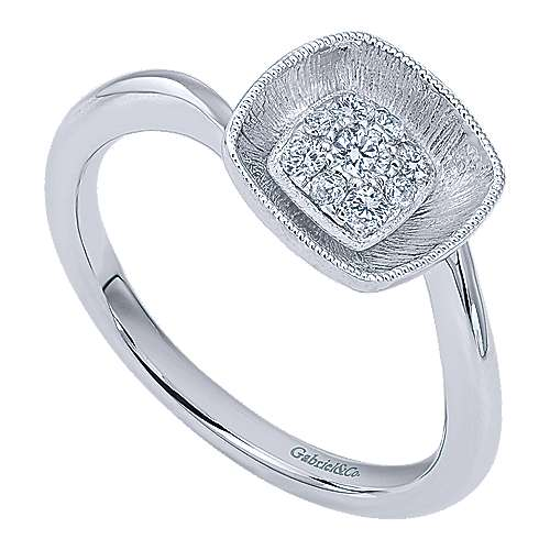 14k White Gold Lotus Fashion Ladies' Ring angle 3