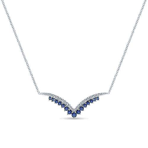14k White Gold Lusso Color Bar Necklace angle 1