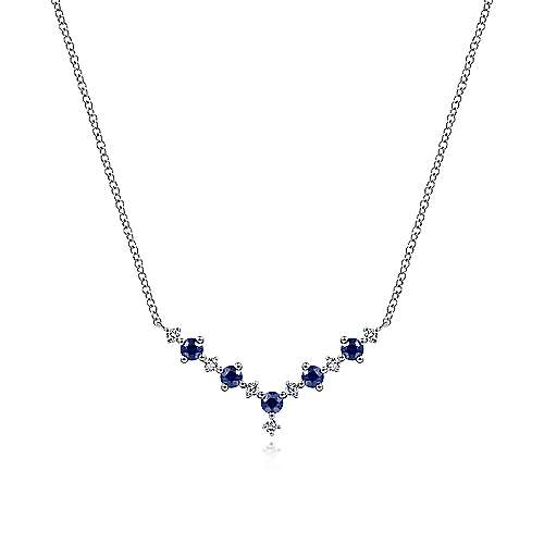 14k White Gold Lusso Color Bar Necklace