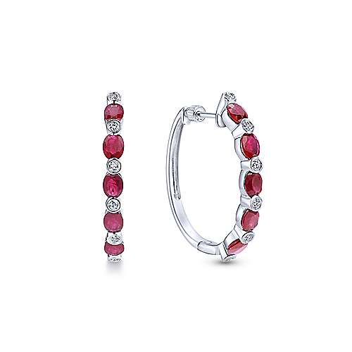 14k White Gold Lusso Color Classic Hoop Earrings