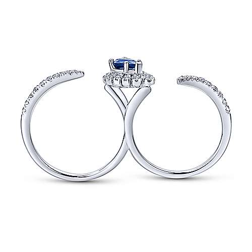 14k White Gold Lusso Color Double Ring Ladies' Ring angle 2