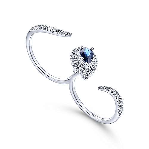 14k White Gold Lusso Color Double Ring Ladies' Ring angle 3