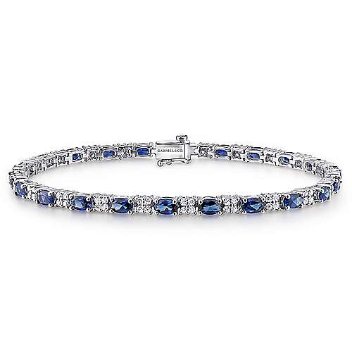 14k White Gold Lusso Color Tennis Bracelet angle 1