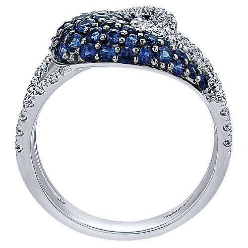 14k White Gold Lusso Color Twisted Ladies' Ring angle 2