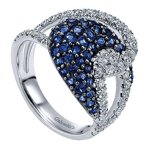 14k White Gold Lusso Color Twisted Ladies' Ring angle 3