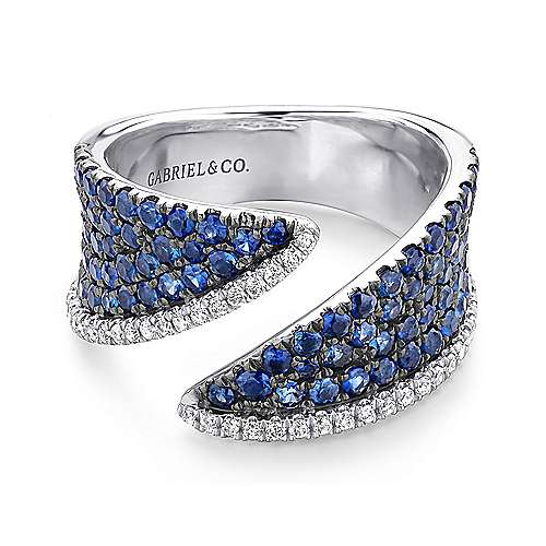 14k White Gold Lusso Color Wide Band Ladies' Ring angle 1