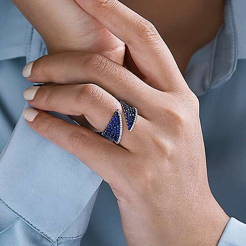 14k White Gold Lusso Color Wide Band Ladies' Ring angle 5