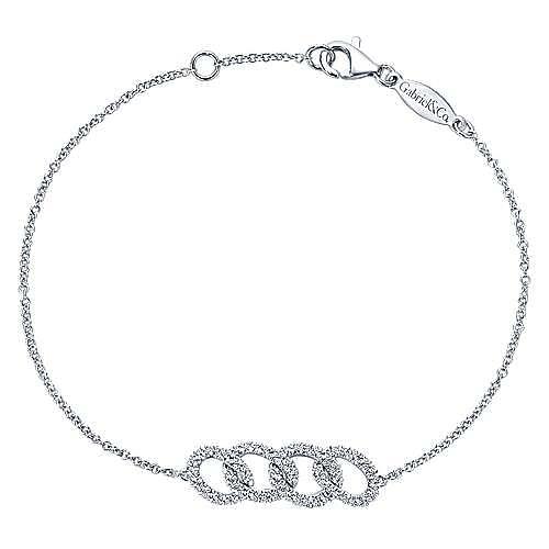 14k White Gold Lusso Diamond Chain Bracelet angle 1