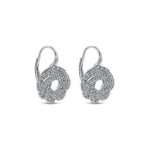 14k White Gold Lusso Diamond Drop Earrings angle 2