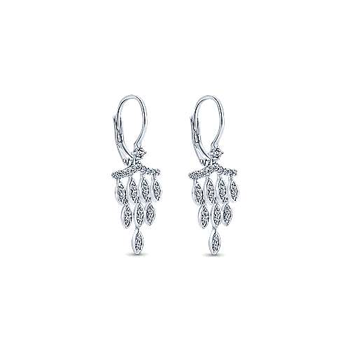14k White Gold Lusso Diamond Drop Earrings angle 2