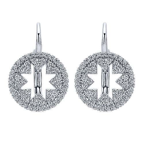 14k White Gold Lusso Diamond Drop Earrings angle 1